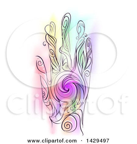 Clipart of a Colorful Swirl Hand on White - Royalty Free Vector Illustration by BNP Design Studio