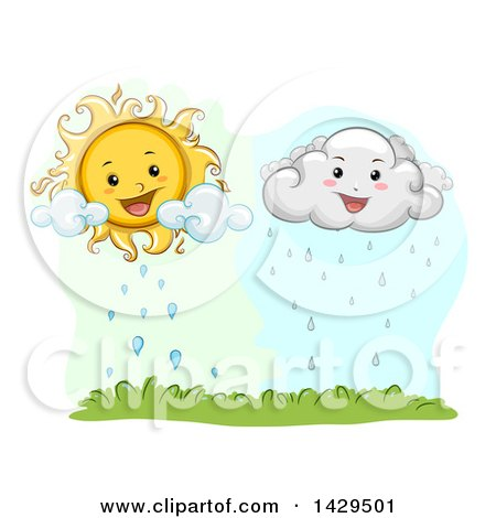 Clipart of a Happy Sun and Rain Cloud over Grass - Royalty Free Vector Illustration by BNP Design Studio