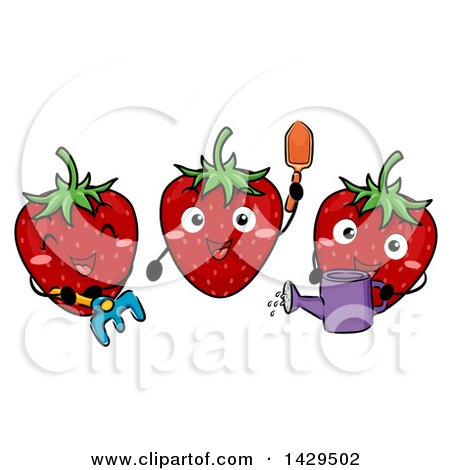 Clipart of a Group of Happy Strawberry Characters Gardening - Royalty Free Vector Illustration by BNP Design Studio