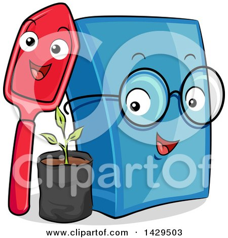 Clipart of a Happy Shovel and Book with a Seedling Plant - Royalty Free Vector Illustration by BNP Design Studio