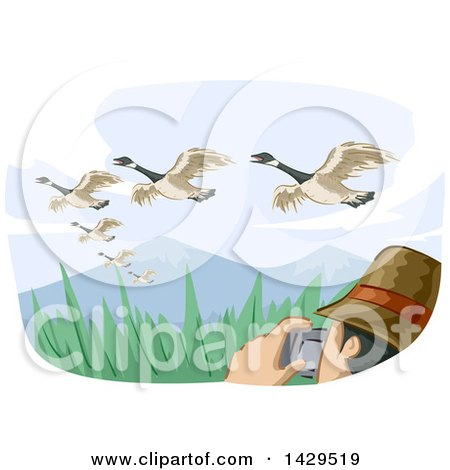 Clipart of a Man Watching Birds and Taking Pictures Under Migrating Geese - Royalty Free Vector Illustration by BNP Design Studio