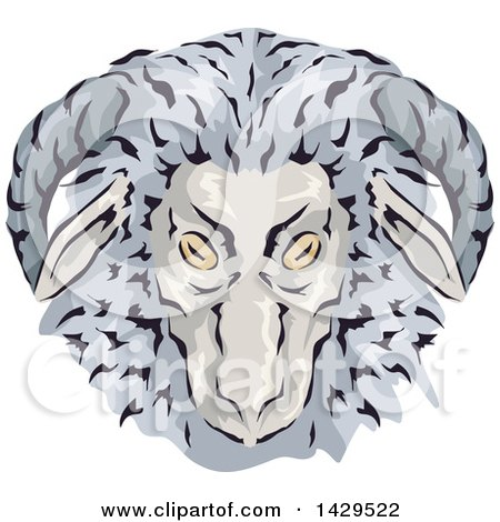 Clipart of a Wooly Gay Ram Head - Royalty Free Vector Illustration by BNP Design Studio