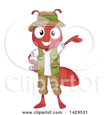 Clipart of a Safari Fire Ant Presenting and Holding Binoculars - Royalty Free Vector Illustration by BNP Design Studio