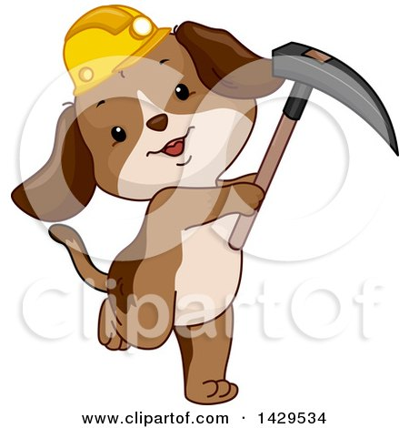 Clipart of a Cute Miner Dog Wearing a Hardhat and Holding a Pickaxe - Royalty Free Vector Illustration by BNP Design Studio