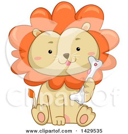 Clipart of a Cute Male Lion Sitting and Holding a Bone - Royalty Free Vector Illustration by BNP Design Studio
