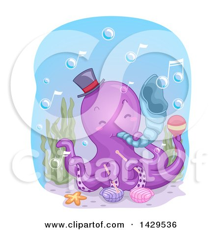 Clipart of a Cute Purple Octopus Musician Playing a Conch Shell - Royalty Free Vector Illustration by BNP Design Studio