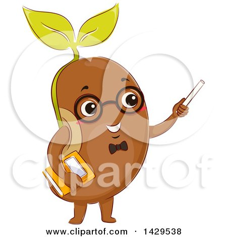 Clipart of a Bean Sprout Teacher Holding Chalk and a Book - Royalty Free Vector Illustration by BNP Design Studio