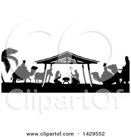 Clipart of a Black and White Christmas Nativity Scene of Baby Jesus, Mary and Joseph in the Manger, with a Donkey and the Magi Wise Men - Royalty Free Vector Illustration by AtStockIllustration