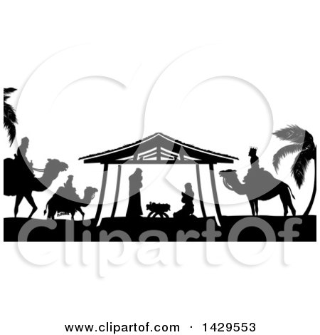 Clipart of a Black and White Christmas Nativity Scene of Baby Jesus, Mary and Joseph in the Manger, with the Magi Wise Men - Royalty Free Vector Illustration by AtStockIllustration