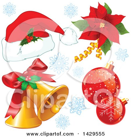 Clipart of a Christmas Santa Hat, Poinsettia, Baubles and Bells - Royalty Free Vector Illustration by Pushkin