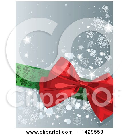 Clipart of a Green Ribbon and Red Christmas Gift Bow over a Gray Background with Snowflakes and Sparkles - Royalty Free Vector Illustration by Pushkin