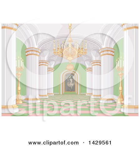 Clipart of a Pink, White, Gold and Green Palace Interior with Candles, a Chandelier and Painting - Royalty Free Vector Illustration by Pushkin