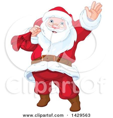Clipart of a Jolly Santa Claus Carrying a Sack and Waving - Royalty Free Vector Illustration by Pushkin
