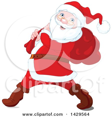 Clipart of a Jolly Santa Claus Carrying a Sack over His Shoulder - Royalty Free Vector Illustration by Pushkin