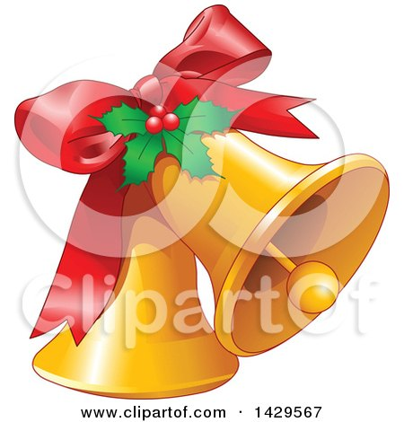 Clipart of a Red Bow and Holly on Christmas Bells - Royalty Free Vector Illustration by Pushkin