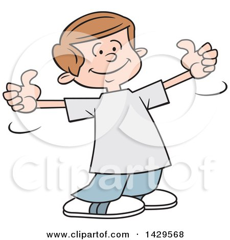 Clipart of a Cartoon Caucasian Boy Giving Two Thumbs up - Royalty Free Vector Illustration by Johnny Sajem