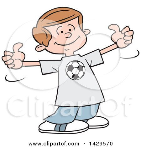 Clipart of a Cartoon Caucasian Boy Wearing a Soccer Shirt and Giving Two Thumbs up - Royalty Free Vector Illustration by Johnny Sajem