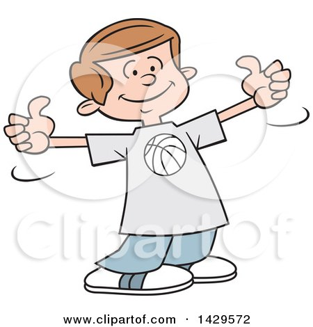 Clipart of a Cartoon Caucasian Boy Wearing a Basketball Shirt and Giving Two Thumbs up - Royalty Free Vector Illustration by Johnny Sajem