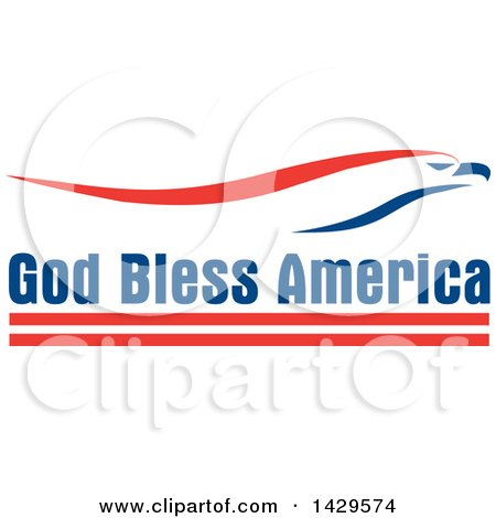 Clipart of a Patriotic Red White and Blue Eagle over God Bless America Text - Royalty Free Vector Illustration by Johnny Sajem