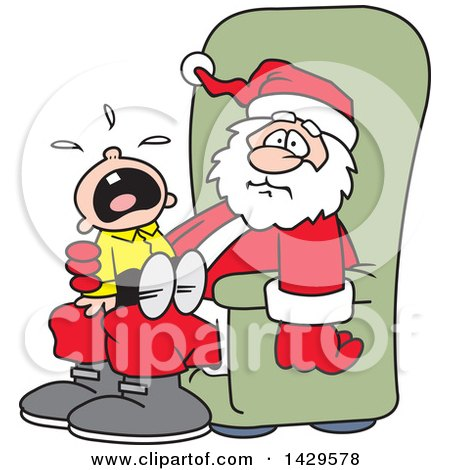 Clipart of a Caucasian Boy Screaming and Crying on Santa's Lap - Royalty Free Vector Illustration by Johnny Sajem