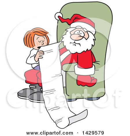 Clipart of a Caucasian Girl Sitting on Santa's Lap and Reading Him a Very Long Christmas Wish List - Royalty Free Vector Illustration by Johnny Sajem