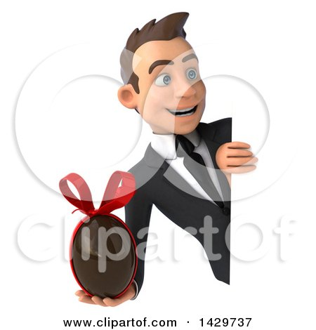 Clipart of a 3d Young White Business Man, on a White Background - Royalty Free Illustration by Julos