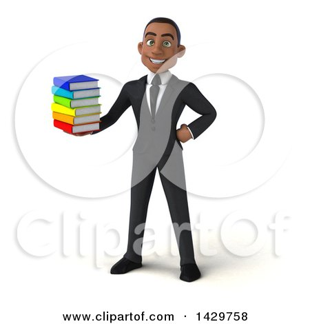 Clipart of a 3d Young Black Business Man, on a White Background - Royalty Free Illustration by Julos