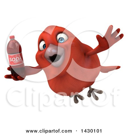 Clipart of a 3d Red Bird, on a White Background - Royalty Free Illustration by Julos