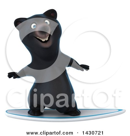 Clipart of a 3d Black Bear, on a White Background - Royalty Free Illustration by Julos