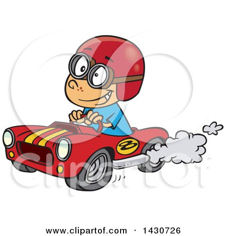 Clipart of a Cartoon White Boy Driving a Race Car - Royalty Free Vector Illustration by toonaday
