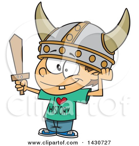 Clipart of a Cartoon White Boy Wearing a Viking Helmet and I Love History Shirt - Royalty Free Vector Illustration by toonaday