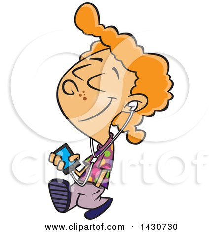 Clipart of a Cartoon White Boy Walking and Listening to Music on an Mp3 Player - Royalty Free Vector Illustration by toonaday