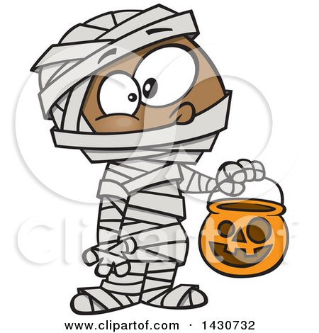 Clipart of a Cartoon Black Boy in a Mummy Halloween Costume - Royalty Free Vector Illustration by toonaday