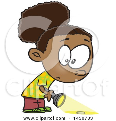 Clipart of a Cartoon Black Girl Searching with a Flashlight - Royalty Free Vector Illustration by toonaday