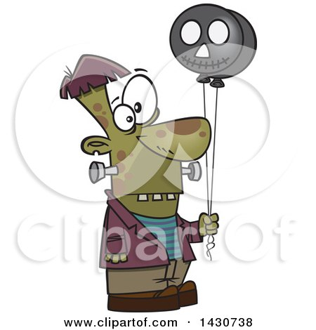 Clipart of a Cartoon Frankenstein Holding Balloons - Royalty Free Vector Illustration by toonaday