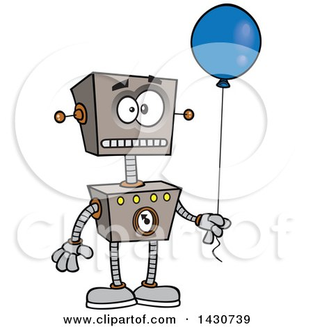Clipart of a Cartoon Birthday Robot Holding a Balloon - Royalty Free Vector Illustration by toonaday