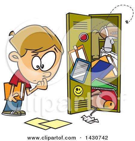 Cartoon White School Boy at a Messy Locker Posters, Art Prints
