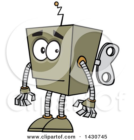 Clipart of a Cartoon Low Tech Boxy Robot - Royalty Free Vector Illustration by toonaday