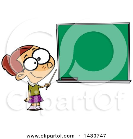 Clipart of a Cartoon White School Girl Pretending to Be a Teacher, Standing by a Chalk Board - Royalty Free Vector Illustration by toonaday