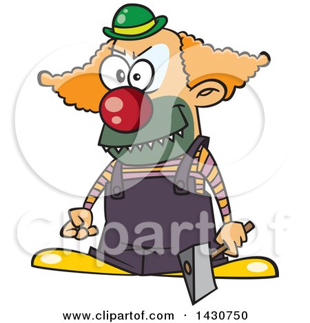 Clipart of a Cartoon Scary Clown Holding an Axe - Royalty Free Vector Illustration by toonaday
