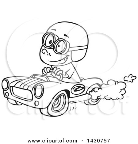cartoon black and white lineart boy driving a race car posters art prints by toonaday. Black Bedroom Furniture Sets. Home Design Ideas