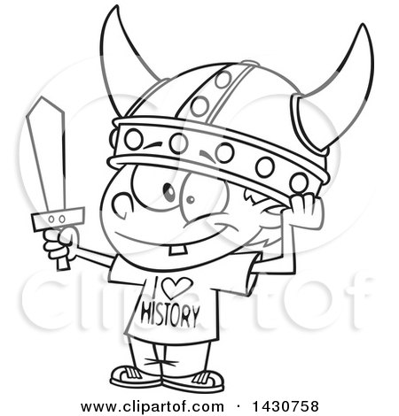 Clipart of a Cartoon Black and White Lineart Boy Wearing a Viking Helmet and I Love History Shirt - Royalty Free Vector Illustration by toonaday