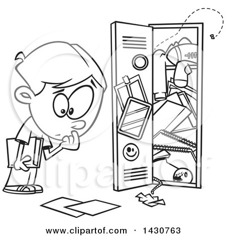 Cartoon Black and White Lineart School Boy at a Messy Locker Posters, Art Prints