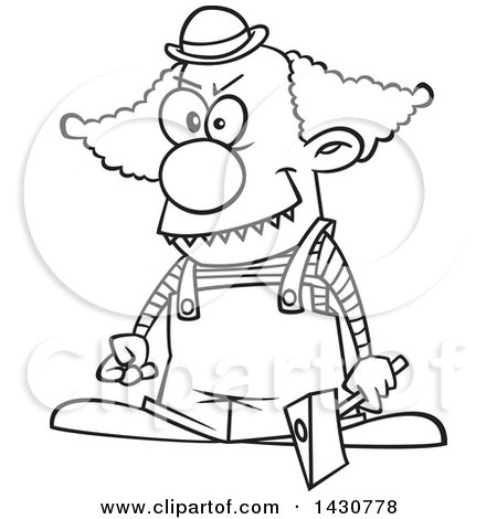 Clipart of a Cartoon Black and White Lineart Scary Clown Holding an Axe - Royalty Free Vector Illustration by toonaday
