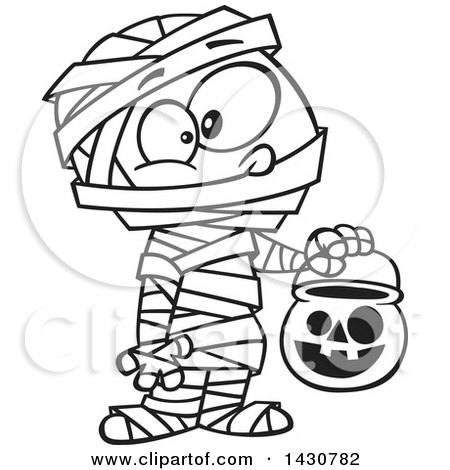 Clipart Of A Cartoon Black And White Lineart Boy In A Mummy