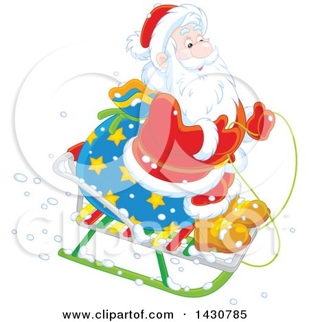 Clipart of a Christmas Santa Claus on a Little Sled - Royalty Free Vector Illustration by Alex Bannykh