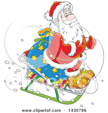 Clipart of a Cartoon Christmas Santa Claus on a Little Sled - Royalty Free Vector Illustration by Alex Bannykh