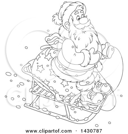 Clipart of a Cartoon Black and White Lineart Christmas Santa Claus on a Little Sled - Royalty Free Vector Illustration by Alex Bannykh