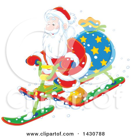 Clipart of a Christmas Santa Claus on a Sled - Royalty Free Vector Illustration by Alex Bannykh