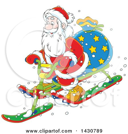 Clipart of a Cartoon Christmas Santa Claus on a Sled - Royalty Free Vector Illustration by Alex Bannykh
